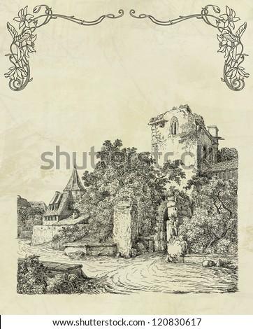Old town illustration - stock photo