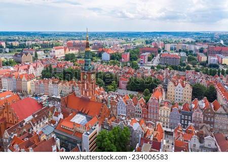 Old Town in Gdansk, aerial view from cathedral tower, Poland - stock photo