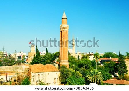 Old town in the green zone. - stock photo