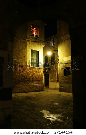 Old town in the night (Venice, Italy) - stock photo
