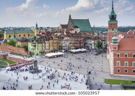 Old Town in Warsaw, Poland - panoramic view with Royal Castle - stock photo