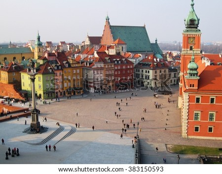 Old town in Warsaw, Poland. The Royal Castle and Sigismund's Column called Kolumna Zygmunta - stock photo