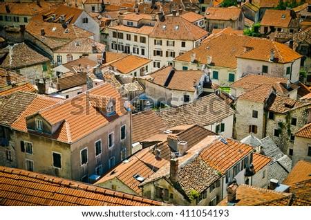 Old Town Kotor. Kotor rooftops of the old town. Old town of Kotor and Boka Kotorska bay in Montenegro  - stock photo