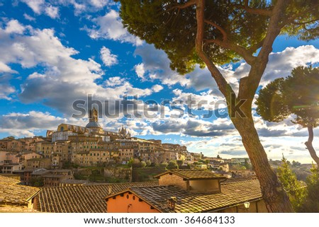 Old Town Mediterranean in sunny Tuscany, Siena - stock photo