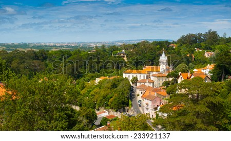 Old town, municipal building and surroundings of Sintra, Portugal, Europe - stock photo