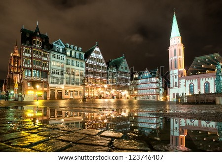 Old town of Frankfurt on Main at night, Germany - stock photo
