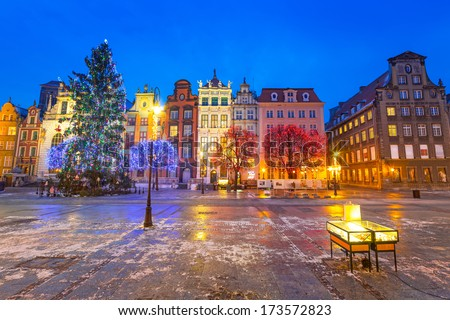Old town of Gdanks with Christmas tree, Poland - stock photo