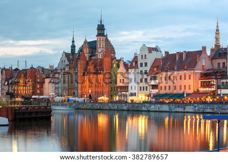 Old Town of Gdansk, Dlugie Pobrzeze and Motlawa River in night, Poland - stock photo