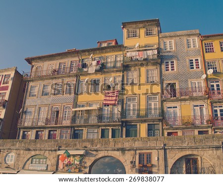 old town of Porto with colorful houses, Portugal, retro toned  - stock photo