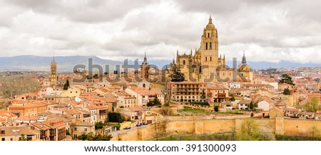 Old Town of Segovia, Spain. UNESCO World Heritage Site - stock photo