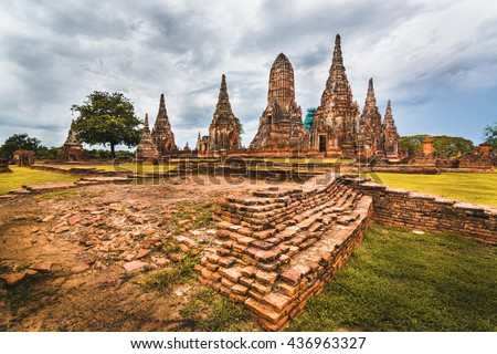 Old town of Thailand. The old town is called Ayutthaya located just 1.5 hrs drive north of Bangkok. Ayutthaya became the second capital of Thailand after Sukhothai regime. (UNESCO heritage site) - stock photo
