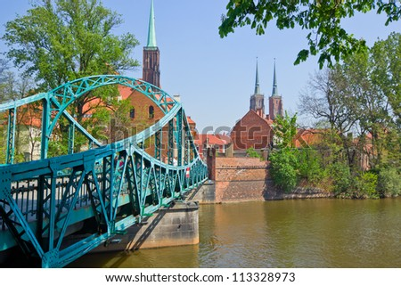 old town of Wroclaw  - bridge to island Tumski, Poland - stock photo
