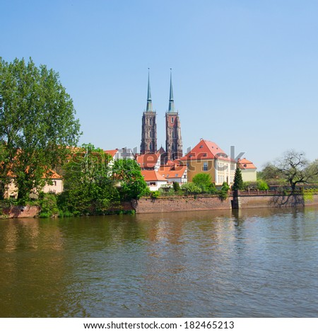 old town of Wroclaw ,   island Tumski, Poland - stock photo