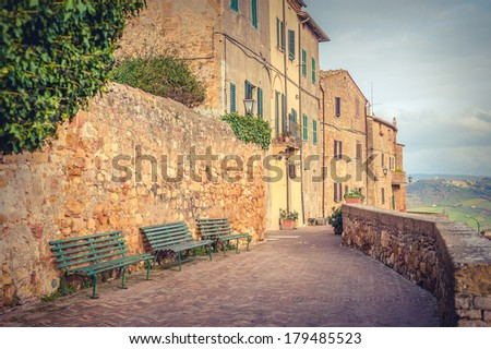 Old Town Pienza, Tuscany between Siena and Rome - stock photo