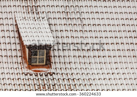 Old town skylight in winter - stock photo