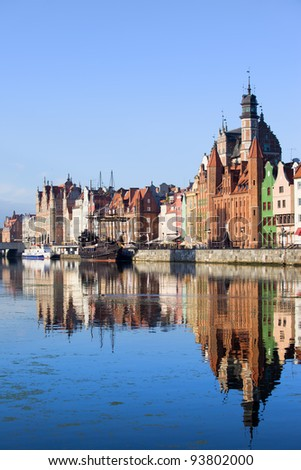 Old Town skyline historic architecture with reflection on the Motlawa river, city of Gdansk, Poland. - stock photo