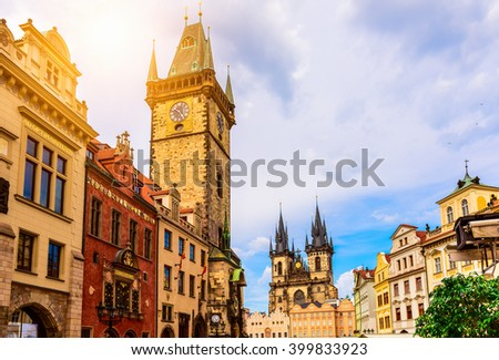 Old Town Square and Astronomical Clock Orloj in Prague. Czech Republic - stock photo