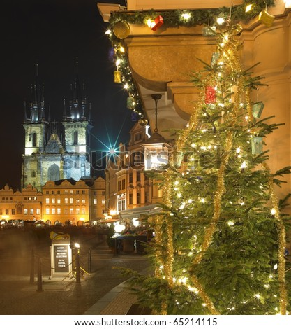 Old Town Square at Christmas, Prague, Czech Republic - stock photo