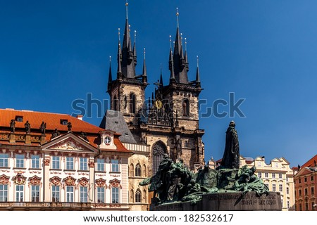 Old Town Square in Prague, Czech Republic. - stock photo
