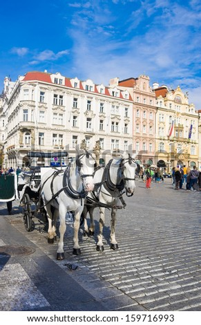 Old Town square in Prague, Czech Republic. Horse drawn carriage - stock photo