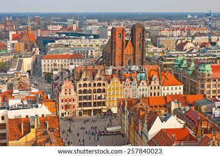 Old town square in Wroclaw, Poland - stock photo