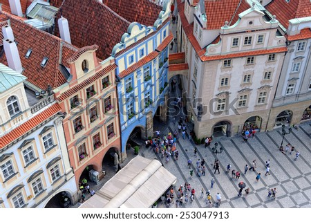 Old Town square with tourist crowd in Prague, Czech Republic, view from above. - stock photo