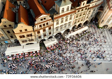 Old Town square with tourist crowd in Prague, Czech Republic, view from above - stock photo