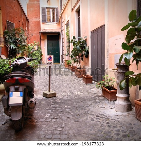 Old town street and Mediterranean architecture in Rome, Italy. Square composition. - stock photo