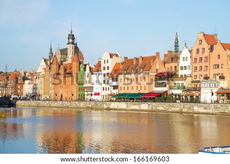 Old town waterfront  in  Gdansk ,  Poland - stock photo