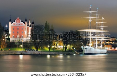 Old Town with historcal ship iin Stockholm, Sweden - stock photo