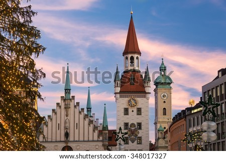 Old Townhall at Marienplatz (Mary's Square) in Munich with beautiful sky and illuminated Christmas Tree, Bavaria, Germany - stock photo
