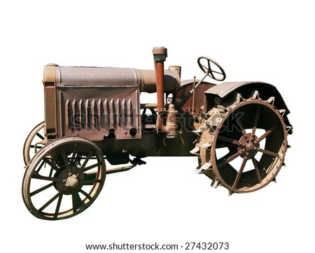 old tractor with clipping path - stock photo