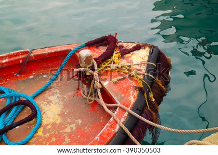 Old traditional fishing boat at Cyclades islands, Greece - stock photo
