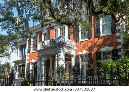 Old traditional home in Savannah, Georgia - stock photo