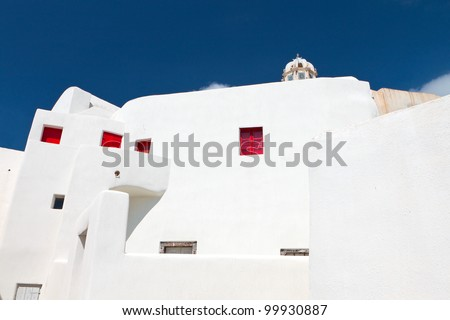 Old traditional house at the Emporio village of Santorini island in Greece - stock photo