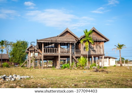 Old Traditional Laos house ,demonstration house ,no owner just only for shooting  - stock photo