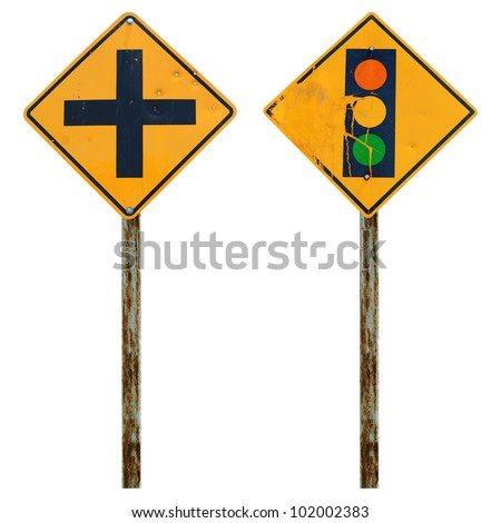 Old traffic sign - stock photo