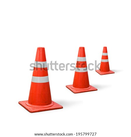 old traffic three cones on white background. - stock photo