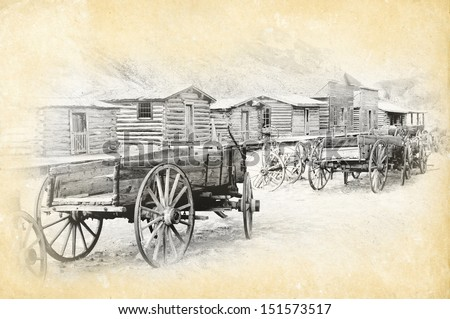 Old trail town, Cody, Wyoming, my own grunge version - stock photo