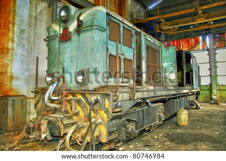 Old train, gold mine ore cars in Spain - stock photo