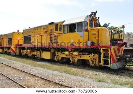 Old train in jordan - stock photo