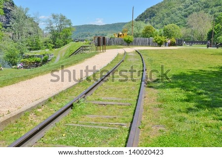 Old Train Tracks at Harpers Ferry in West Virginia USA - stock photo