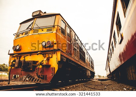 Old Train transport of Thailand - stock photo