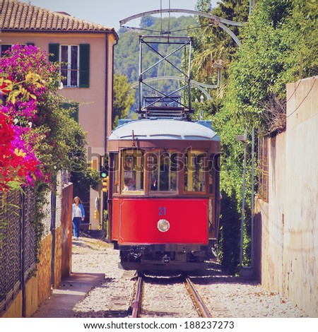 Old Tram in Soller on Mallorca, Balearic Islands, Spain - stock photo