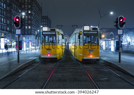 Old Tram in the city center of Budapest, Old Tram At Train Stations in Budapest, Hungary. Black And White - stock photo