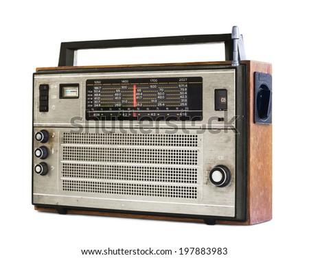 Old transistor radio isolated on white - stock photo