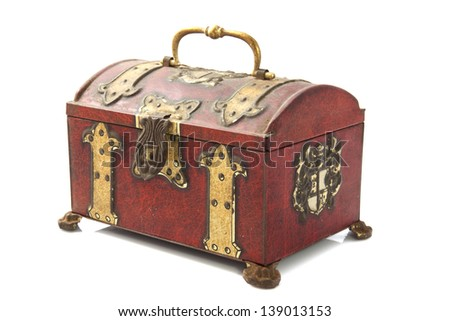Old treasure chest closeup isolated over white - stock photo