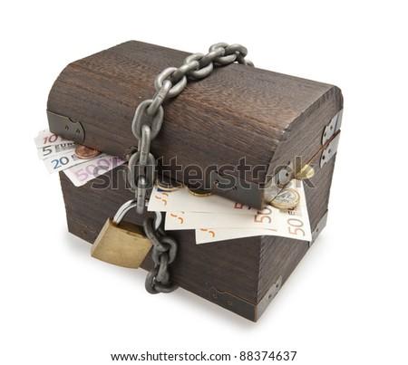 Old treasure-chest full of euro paper money - stock photo