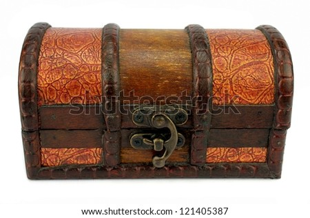 Old Treasure Chest on white background - stock photo