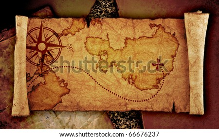 old treasure map, on the old vintage background - stock photo